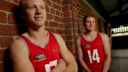 Above: Callum Mills and Jacob Hopper will play together on Grand Final day.