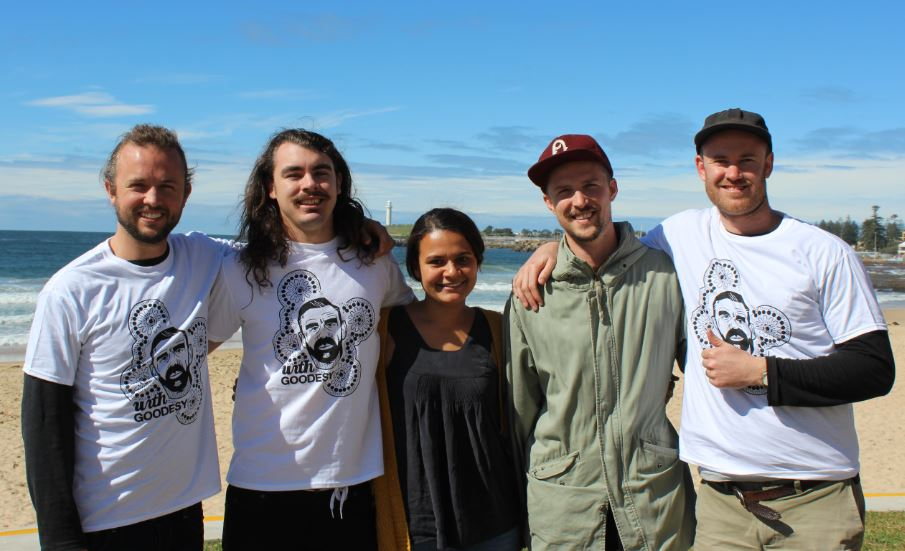 Sam Lockwood (far right) with artist Zac Bennett-Brook (2nd left) and supporters of  With Goodesy