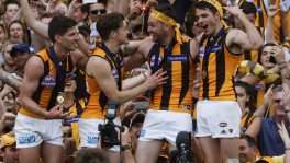 Hawthorn's (L-R) Luke Breust Taylor Duryea, Matthew Suckling and Isaac Smith celebrate their victory after the 2015 Toyota AFL Grand Final.(Photo by Greg Ford/AFL Media)