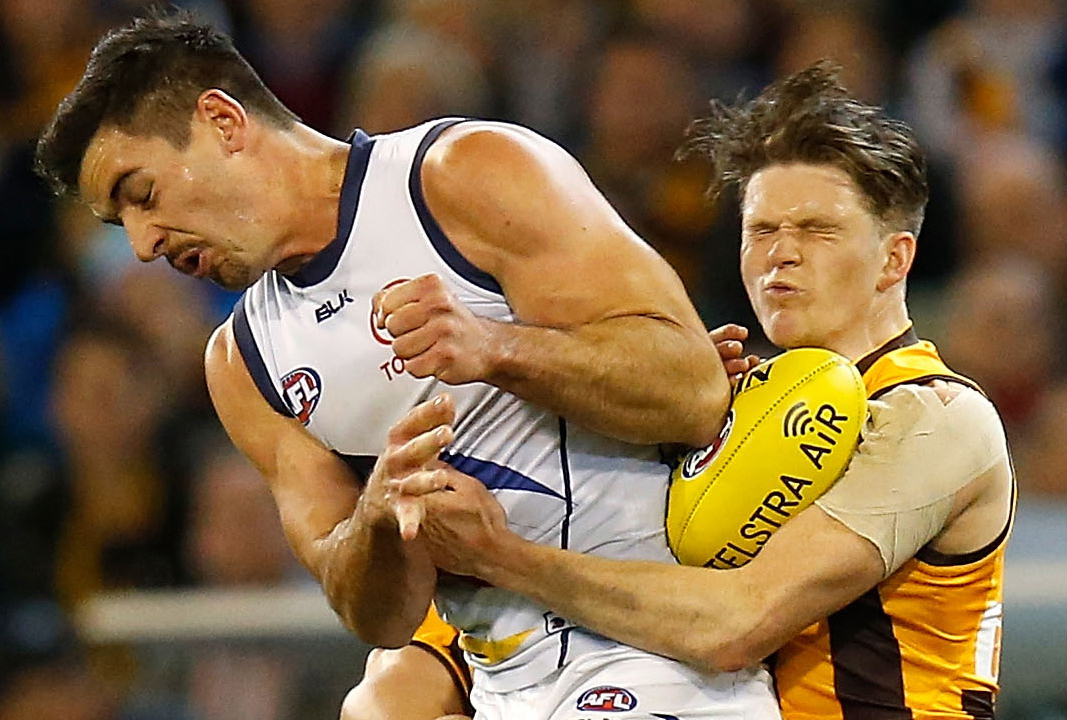 NSW pair Taylor Walker and Taylor Duryea clash during their sides' semi-final. (Photo by Michael Willson/AFL Media)