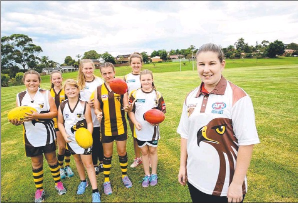 Coach Jana Webb with Zenae Pavell, Maddy Smith, Tahnee Sparks,Shayla Cromie, Natasha Gold-Smith, Ashleigh Cooper and Kirilee Stanmore By Peter Kelly