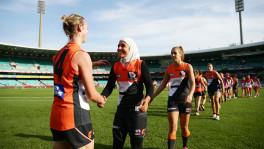 SYDNEY, AUSTRALIA - APRIL 9: Talia Radan (L) and Lael Kassem (R) of the Giants shake hands at fulltime during the 2016 AFL Round 03 match between the Sydney Swans and the GWS Giants at the Sydney Cricket Ground, Sydney on April 9, 2016. (Photo by Matt King/AFL Media)