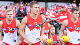 SYDNEY, AUSTRALIA - APRIL 09:  Kieren Jack of the Swans and team mates enter the field during the round three  match between the Sydney Swans and the Greater Western Sydney Giants at Sydney Cricket Ground on April 9, 2016 in Sydney, Australia.  (Photo by Cameron Spencer/AFL Media/Getty Images)