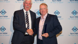 CEO of the Office of Sport, Matt Miller presents President of the Drummoyne Power, Jeremy Stanwix with the Sport Volunteer Management Award (Photo Narrative Post/Matthias Engesser).