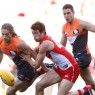 SYDNEY, AUSTRALIA - SEPTEMBER 10: Callan Ward of the Giants and Nick Smith of the Swans compete for the ball during the 2016 AFL First Qualifying Final match between the Sydney Swans and the GWS Giants at ANZ Stadium on September 10, 2016 in Sydney, Australia. (Photo by Michael Willson/AFL Media)