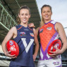 2018 GWS GIANTS recruit, Alicia Eva and Allies player, Katie Brennan in their State of Origin guernseys. Image courtesy of the Herald Sun.